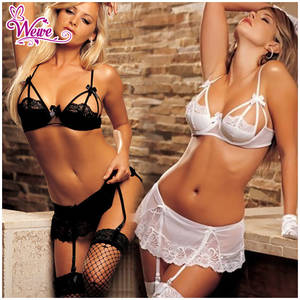 Lace Bra Porn - 2015 Hot Sexy Lingerie Set Porn Open Cup Bra Nightwear Fence Mesh Black  White Lace Mini Dress With Garter Belts G Strings-in Lingerie Sets from  Novelty ...
