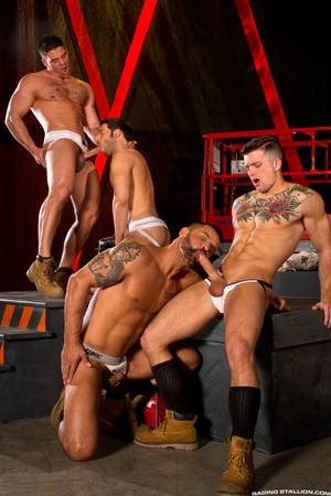 huge cock orgy - Derek Atlas, David Benjamin, Dario Beck and Sebastian Kross have a fourway  orgy in