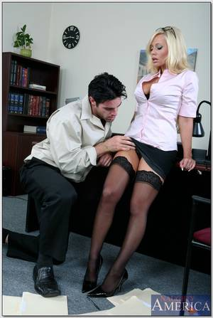 busty secretary blowjob - ... Busty office secretary Angelina Ashe stripped to stockings and fucked  ...