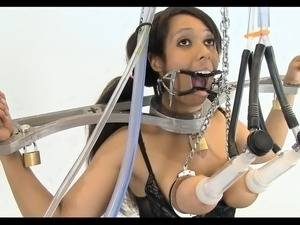 latex bondage self metal - ebony metal bound milking and lactation