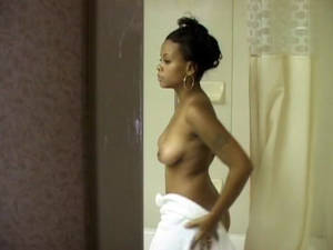 ebony cam nude - Spy cam catches hot ebony girl undress in the.