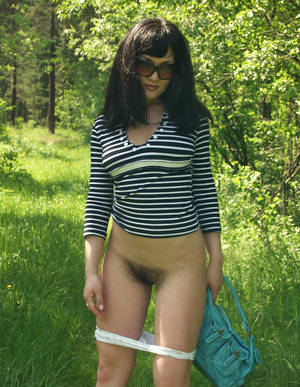 Hairy Brunette Big Tits - Amateur brunette with big boobs and hairy pussy at forest. 20 photos