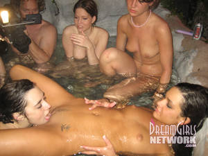 bald nudist party - Drunk lesbian girls play with each others bald pussies in the pool at night