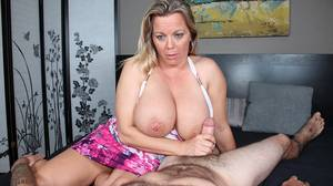 ffm pov handjob - Amber Lynn Bach gives step son an abusive handjob on Over 40 handjobs