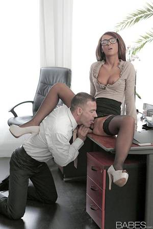 Babes Office Porn - ... Stocking and glasses adorned Alexis Brill having shaved pussy ate in  office ...