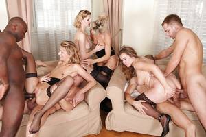 Milf Porn Orgy - ... Lewd MILF in nylons have a fervent double penetration orgy with hung  lads ...