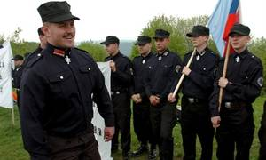 Nazi Party Porn - 'Our Slovakia' party members in Nazi-esque uniforms. '