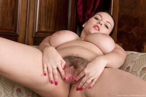 Blush - Busty Cherry Blush spreads hairy pussy