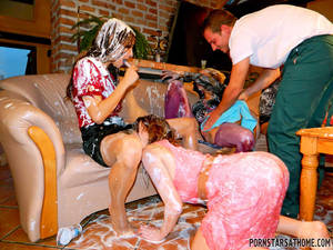 Messy Sex Games - Rachel Evans enjoys a wet and messy Gangbang (Photos from Porn Stars at  Home)