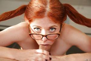 Hd Redhead Blowjob - ... Awesome redhead in glasses Penny is giving a deep sloppy blowjob ...