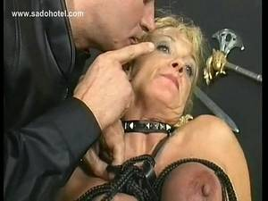 mature big nipples tied scared - Blond slave with big tits gets her tits tied together with rope in a  dungeon by german master - XNXX.COM