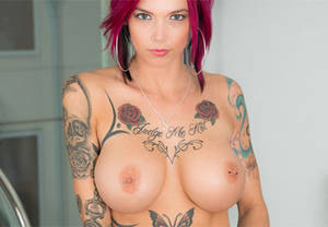 big round fake boobs - A whole lot of tattoos and big tits with sexy milf Anna Bell Peaks …
