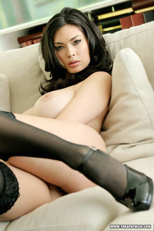 Asian Big Tits Nylons - ... Exotic Asian pornstar Tera Patrick flaunting nice melons in black nylons  ...