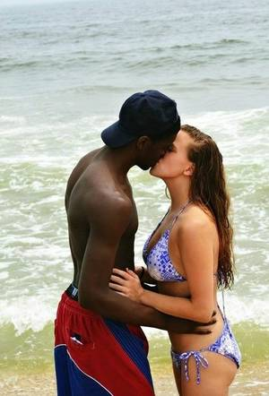 making love interracial couple on beach - my wife kissing a nigga she met at the beach…