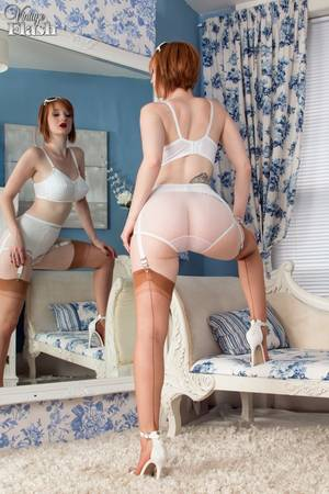 Hot Redhead Vintage - ... Classy redhead Zara strips to model her big tits and sexy garter belt  ...