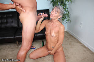 grannies hand job - Leilani Lei jerking hard cock older babe jerking off her horny step son ...