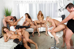 Milf Porn Orgy - ... MILF pornstars receive facial cumshots after wild orgy fuck session ...