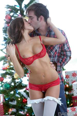 hoe logan - Stocking attired August Ames giving blowjob in front of Christmas tree ...