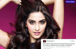 Bollywood Drag Actress Porn - #SonamKapoor Calls Govt as Idiots to Ban Porn Sites.