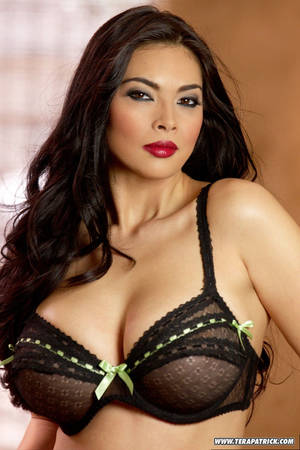 Asian Big Tits Nylons - ... Asian MILF Tera Patrick posing in sexy sheer lingerie & black stockings  ...