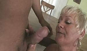 grannies hand job - Naughty Grandma Amanda Bends Over Kitchen Table To Fuck