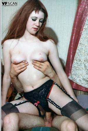 Hot Redhead Vintage - ... Hot redhead taking a hard cock in her hairy pussy in vintage porn scene  ...