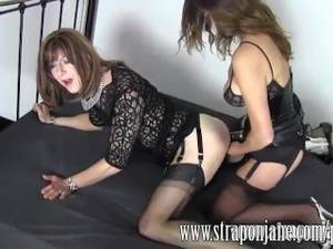 Crossdresser Strap On Porn - FemDom Strapon Jane fucks sexy crossdresser from behind