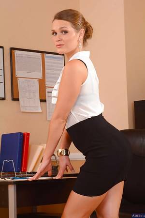 Babes Office Porn - ... Office babe Abby Cross poses in a sexy lingerie and high heels ...