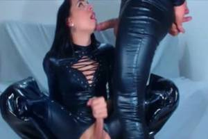 horny leather shemales - Latex Leather shemale oral sex-stimulation