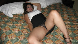 chubby dress fuck - WifeBucket Pics | Chubby MILF in a sexy tight dress spreads on the bed