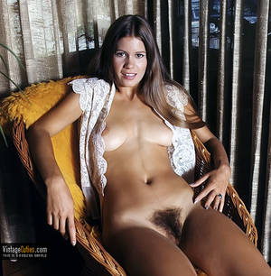 70s Women - Sexy brunette from the 70's with an unbuttoned blouse and fuzzy pussy retro  ...