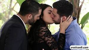 cuckold double penetration - Brunette babe Adria Rae fucks two cocks in one shot