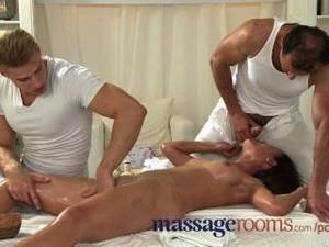 massage rooms anal hd - Massage Rooms Young Teen Takes Two Big Cocks In A Massage Threesome