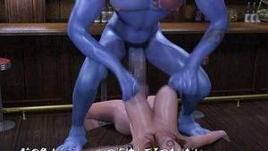 3d cartoon huge cock - Hottest 3D chick impales herself on the huge blue dick