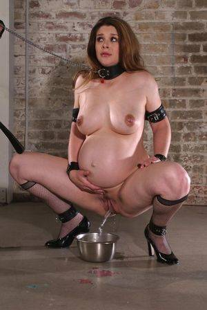 Bdsm Piss Porn - Swollen prego tits pissing into bowl