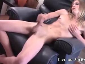 blonde shemale jerk off - Fit Blonde Shemale Jerking Off and Cumming