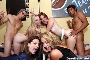 dorm room sex party - ... Saucy coeds enjoy a hardcore groupsex at the drunk party in the dorm  room ...