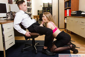 busty secretary blowjob - ... Blonde secretary Kimber Lee gives her co-worker a blowjob in office ...