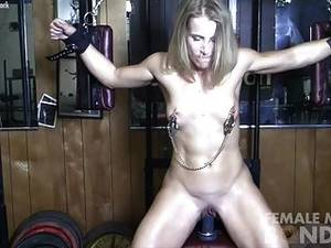 hairy dildo ride - Mature Wet Pussy Rides Dildo While Bound
