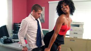 ebony sex office workers - Sweet slender Ebony performs an amazing fuck in the office