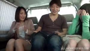 asian handjob threesome - threesome sex in a backseat with gorgeous japanese babes