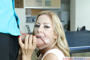 Housewife Big Cock Porn - ... Blonde housewife Alexis Fawx taking big dick on pink tongue on her  knees ...