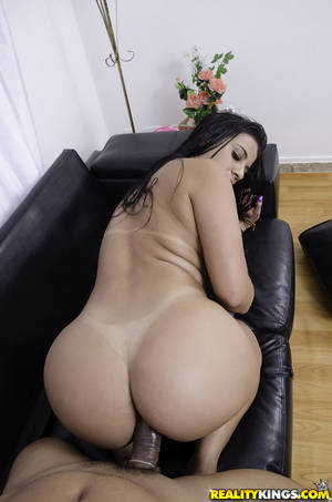 Latina Tits Ass Pussy - ... Big booty Latina Aline Rios taking condom covered cock in shaved pussy  ...