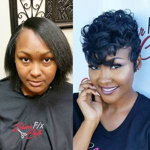 Diva Short Hair Ebony Porn - Love this #pixie transformation styled by @crystheartist and  @nikki_h_stylist ✂ Teamwork makes · Curled Pixie CutBlack Hair Pixie Cut Short ...