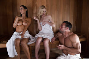 isis love group sex - Wet MILF Isis Love showing off big tits and ass before giving bj in sauna  ...