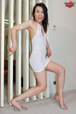 japanese tight dress - Adorable asian shemale in skin tight white dress and high heel shoes shows  her japanese dick