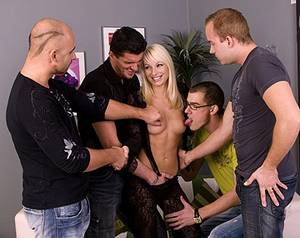 gang bang handjob - Blonde Lena Cova Gets Wild Gang Bang with Handjobs.