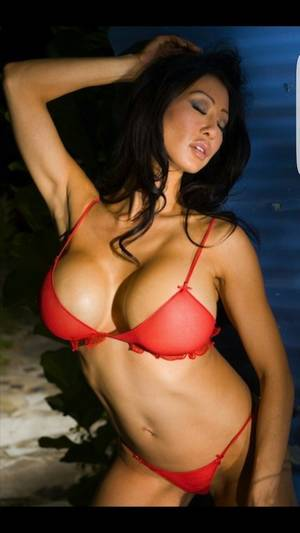 Naked Playboy Models Big Tits - Super huge naked Asian tits in sheer red bra.